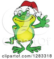 Clipart Of A Friendly Waving Gecko Wearing A Christmas Santa Hat Royalty Free Vector Illustration by Dennis Holmes Designs