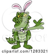 Clipart Of A Friendly Waving Alligator Wearing Easter Bunny Ears Royalty Free Vector Illustration