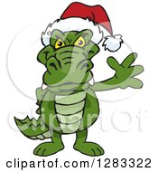 Clipart Of A Friendly Waving Alligator Wearing A Christmas Santa Hat Royalty Free Vector Illustration by Dennis Holmes Designs