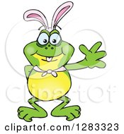 Clipart Of A Friendly Waving Frog Wearing Easter Bunny Ears Royalty Free Vector Illustration