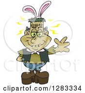 Clipart Of A Friendly Waving Frankenstein Wearing Easter Bunny Ears Royalty Free Vector Illustration