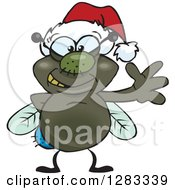 Clipart Of A Friendly Waving House Fly Bug Wearing A Christmas Santa Hat Royalty Free Vector Illustration