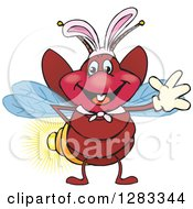Clipart Of A Friendly Waving Firefly Lightning Bug Wearing Easter Bunny Ears Royalty Free Vector Illustration by Dennis Holmes Designs