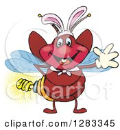 Friendly Waving Firefly Lightning Bug With A Light Bulb Butt Wearing Easter Bunny Ears