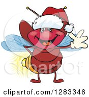 Clipart Of A Friendly Waving Firefly Lightning Bug Wearing A Christmas Santa Hat Royalty Free Vector Illustration by Dennis Holmes Designs