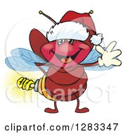 Clipart Of A Friendly Waving Firefly Lightning Bug With A Light Bulb Butt Wearing A Christmas Santa Hat Royalty Free Vector Illustration by Dennis Holmes Designs