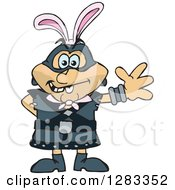 Clipart Of A Friendly Waving Executioner Wearing Easter Bunny Ears Royalty Free Vector Illustration