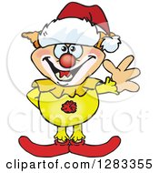 Clipart Of A Friendly Waving Evil Clown Wearing A Christmas Santa Hat Royalty Free Vector Illustration by Dennis Holmes Designs