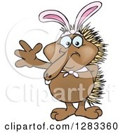 Clipart Of A Friendly Waving Echidna Wearing Easter Bunny Ears Royalty Free Vector Illustration by Dennis Holmes Designs
