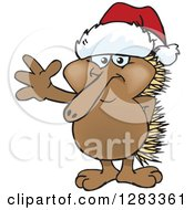 Clipart Of A Friendly Waving Echidna Wearing A Christmas Santa Hat Royalty Free Vector Illustration