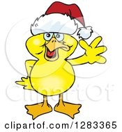 Clipart Of A Friendly Waving Yellow Duck Wearing A Christmas Santa Hat Royalty Free Vector Illustration