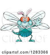 Clipart Of A Friendly Waving Dragonfly Wearing Easter Bunny Ears Royalty Free Vector Illustration by Dennis Holmes Designs