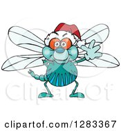 Clipart Of A Friendly Waving Dragonfly Wearing A Christmas Santa Hat Royalty Free Vector Illustration by Dennis Holmes Designs