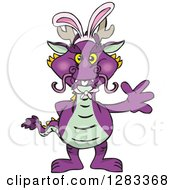 Friendly Waving Purple Dragon Wearing Easter Bunny Ears