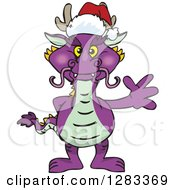 Friendly Waving Purple Dragon Wearing A Christmas Santa Hat