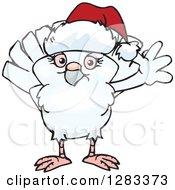 Clipart Of A Friendly Waving Dove Wearing A Christmas Santa Hat Royalty Free Vector Illustration
