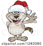 Clipart Of A Friendly Waving Two Toned Brown Dog Wearing A Christmas Santa Hat Royalty Free Vector Illustration