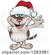Friendly Waving Brown Dog Wearing A Christmas Santa Hat