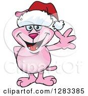 Friendly Waving Pink Dog Wearing A Christmas Santa Hat