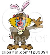 Clipart Of A Friendly Waving Baboon Monkey Wearing Easter Bunny Ears Royalty Free Vector Illustration