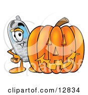 Wireless Cellular Telephone Mascot Cartoon Character With A Carved Halloween Pumpkin