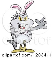 Clipart Of A Friendly Waving Bream Fish Wearing Easter Bunny Ears Royalty Free Vector Illustration by Dennis Holmes Designs