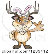 Clipart Of A Friendly Waving Buck Deer Wearing Easter Bunny Ears Royalty Free Vector Illustration by Dennis Holmes Designs