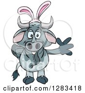 Clipart Of A Friendly Waving Brahman Bull Wearing Easter Bunny Ears Royalty Free Vector Illustration by Dennis Holmes Designs