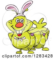 Clipart Of A Friendly Waving Caterpillar Wearing Easter Bunny Ears Royalty Free Vector Illustration by Dennis Holmes Designs