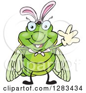 Clipart Of A Friendly Waving Cicada Wearing Easter Bunny Ears Royalty Free Vector Illustration by Dennis Holmes Designs
