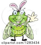 Friendly Waving Cicada Wearing Easter Bunny Ears