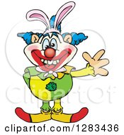 Clipart Of A Friendly Waving Clown Wearing Easter Bunny Ears Royalty Free Vector Illustration by Dennis Holmes Designs