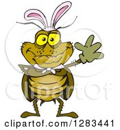 Clipart Of A Friendly Waving Cockroach Wearing Easter Bunny Ears Royalty Free Vector Illustration by Dennis Holmes Designs