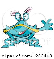 Clipart Of A Friendly Waving Blue Crab Wearing Easter Bunny Ears Royalty Free Vector Illustration