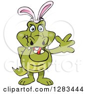 Clipart Of A Friendly Waving Crocodile Wearing Easter Bunny Ears Royalty Free Vector Illustration