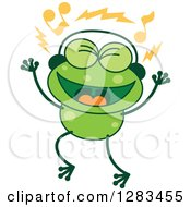 Clipart Of A Green Frog Singing And Wearing Music Headphones Royalty Free Vector Illustration