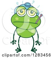 Clipart Of A Sick Green Frog With An Ice Pack And Thermometer Royalty Free Vector Illustration