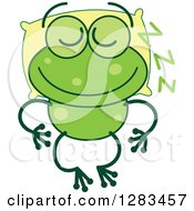 Clipart Of A Green Frog Sleeping On A Pillow Royalty Free Vector Illustration
