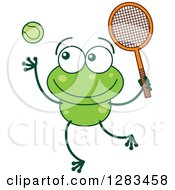 Clipart Of A Green Frog Playing Tennis Royalty Free Vector Illustration