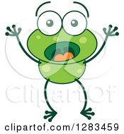 Clipart Of A Surprised Green Frog Royalty Free Vector Illustration
