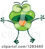 Clipart Of A Vomiting Green Frog Royalty Free Vector Illustration
