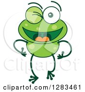 Clipart Of A Happy Or Flirty Winking Green Frog Royalty Free Vector Illustration