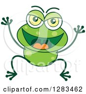 Clipart Of A Naughty Green Frog Royalty Free Vector Illustration