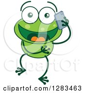 Clipart Of A Happy Green Frog Talking On A Cell Phone Royalty Free Vector Illustration