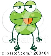 Clipart Of An Indifferent Green Frog Royalty Free Vector Illustration