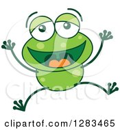 Clipart Of A Laughing Green Frog Royalty Free Vector Illustration