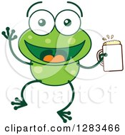 Clipart Of A Happy Green Frog Holding A Beer Royalty Free Vector Illustration