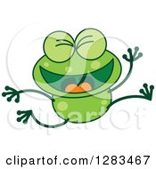 Clipart Of A Happy Celebrating Jumping Green Frog Royalty Free Vector Illustration
