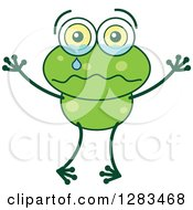 Clipart Of A Sad Crying Green Frog Royalty Free Vector Illustration