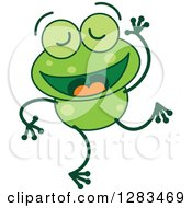 Clipart Of A Happy Dancing Green Frog Royalty Free Vector Illustration